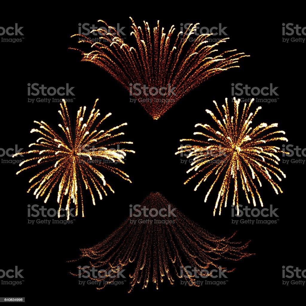 Set of isolated fireworks vector art illustration