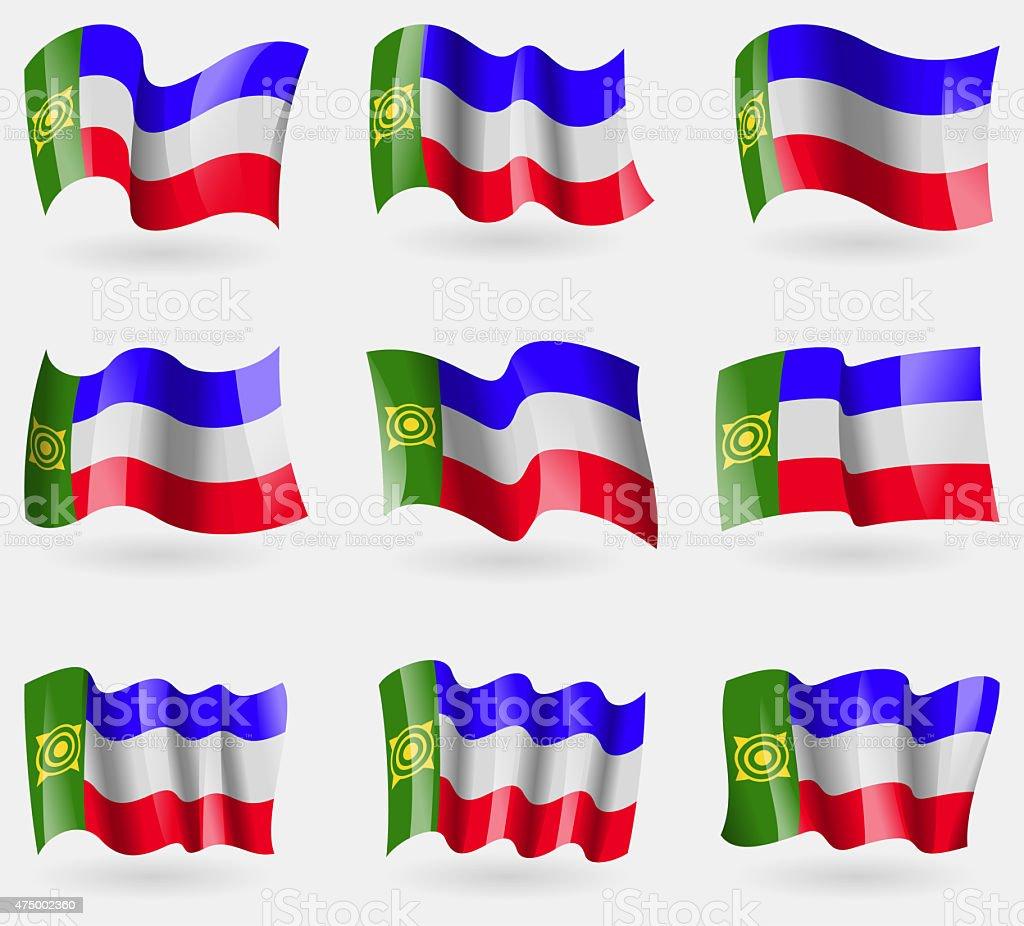 Set of Khakassia flags in the air. vector art illustration