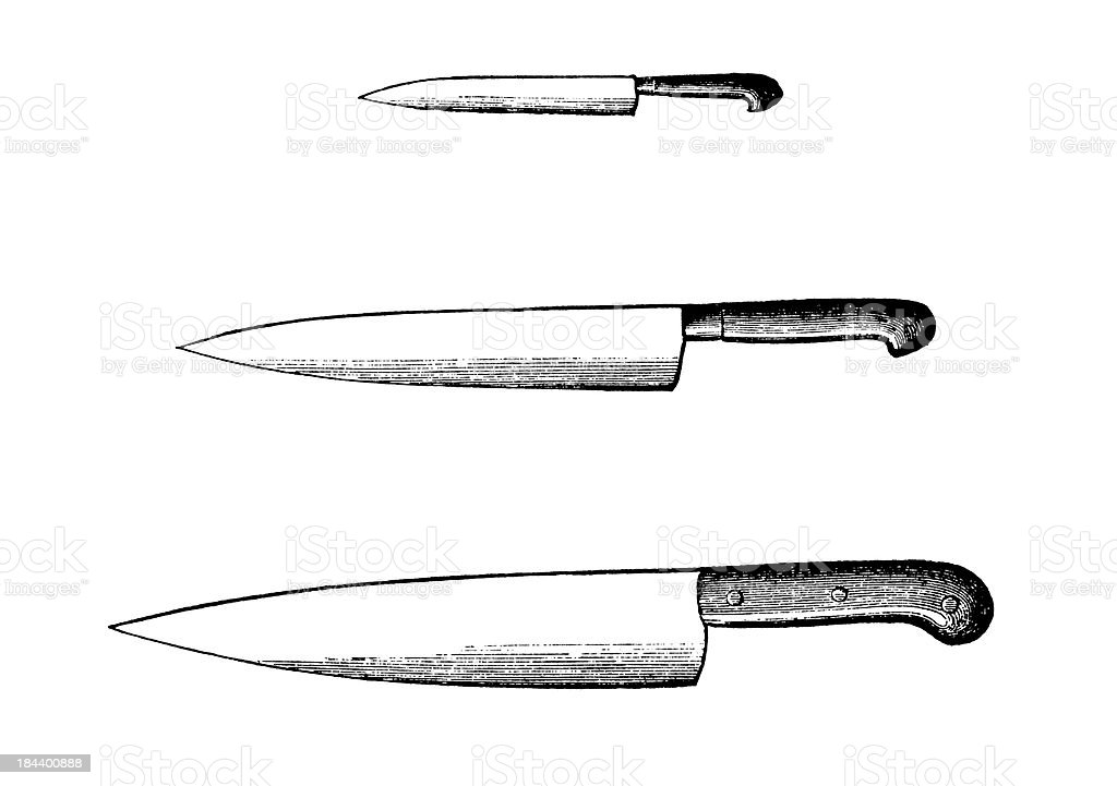 Set of Kitchen Knives | Antique Culinary Illustrations royalty-free stock vector art