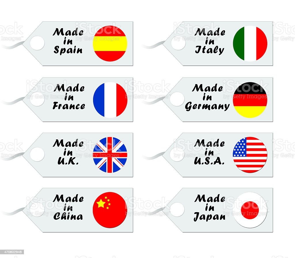 Set of labels with world flags vector art illustration