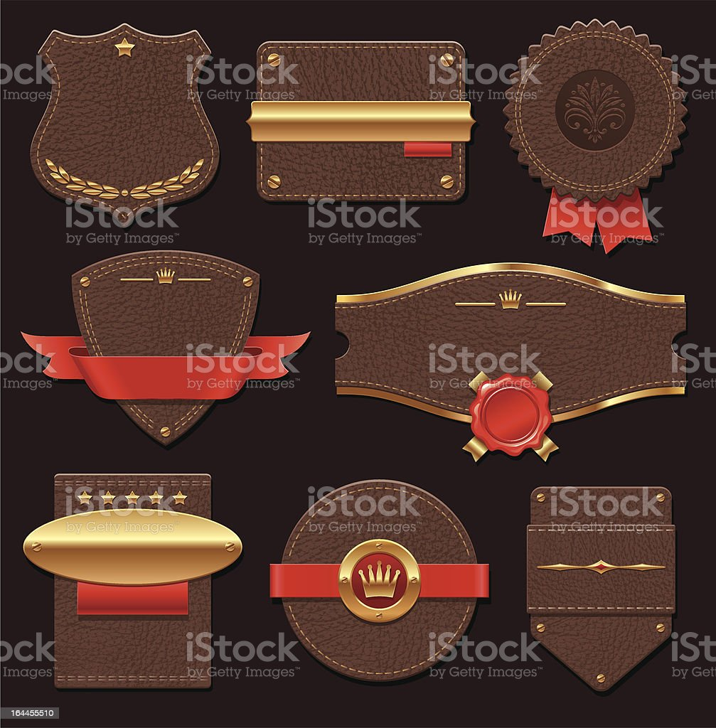 Set of leather & gold quality labels royalty-free stock vector art