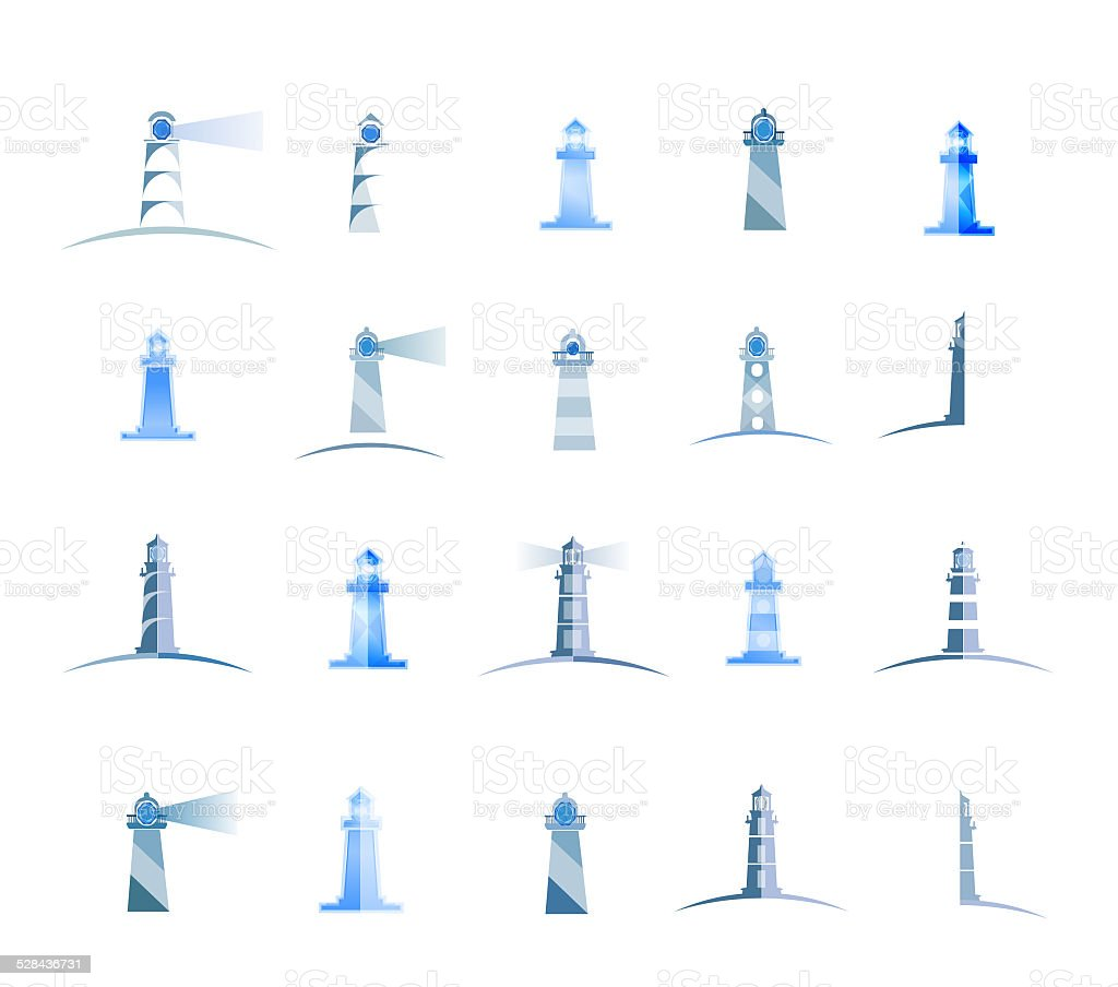 set of lighthouses vector art illustration
