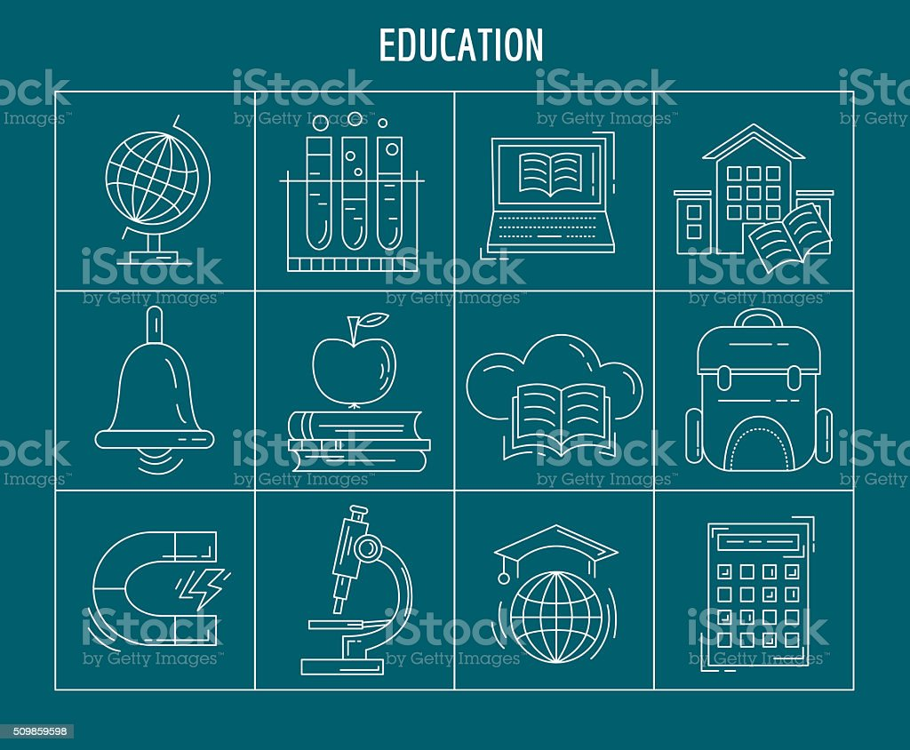 Set of linear icons vector art illustration