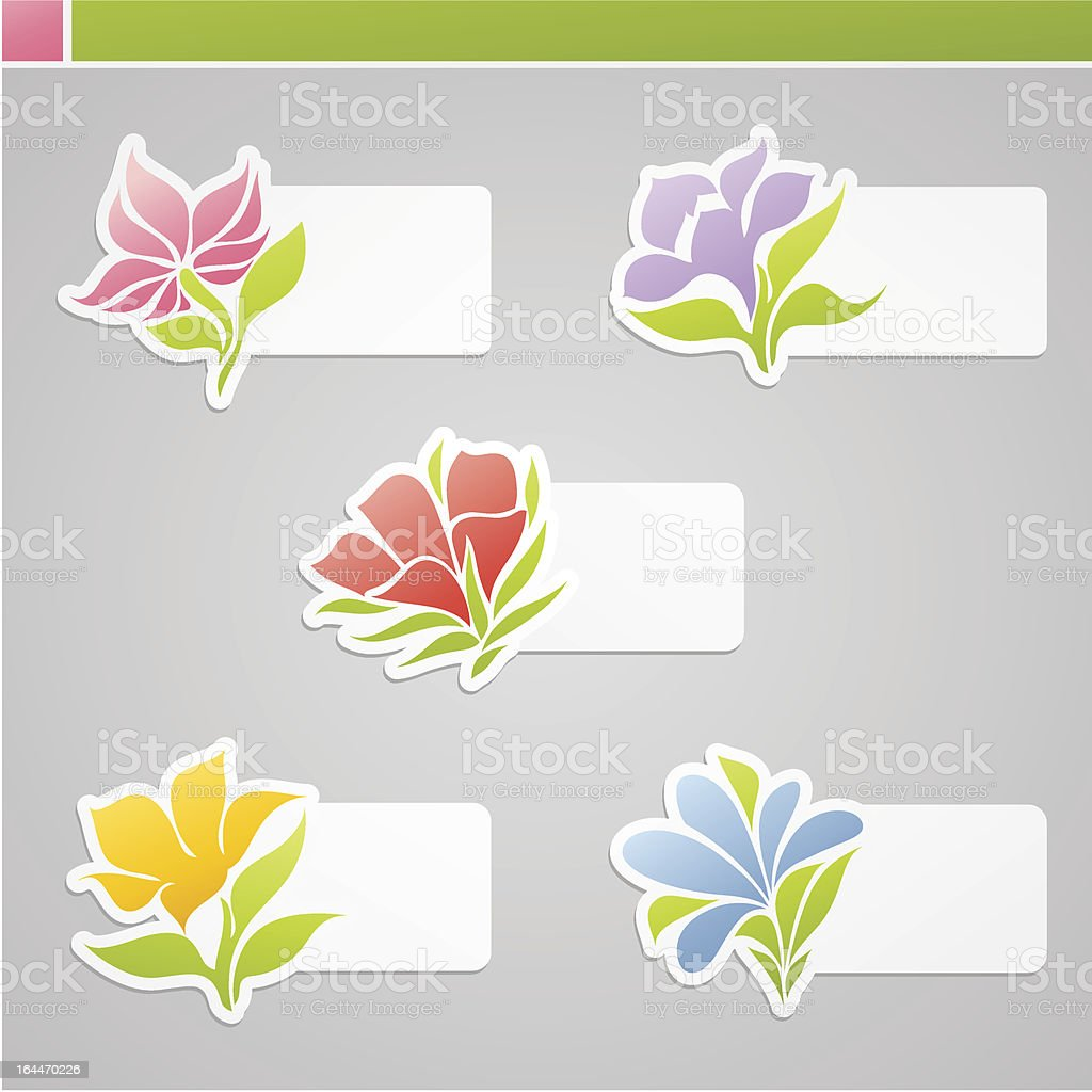 Set of multicolored flowers with tags for message. vector art illustration