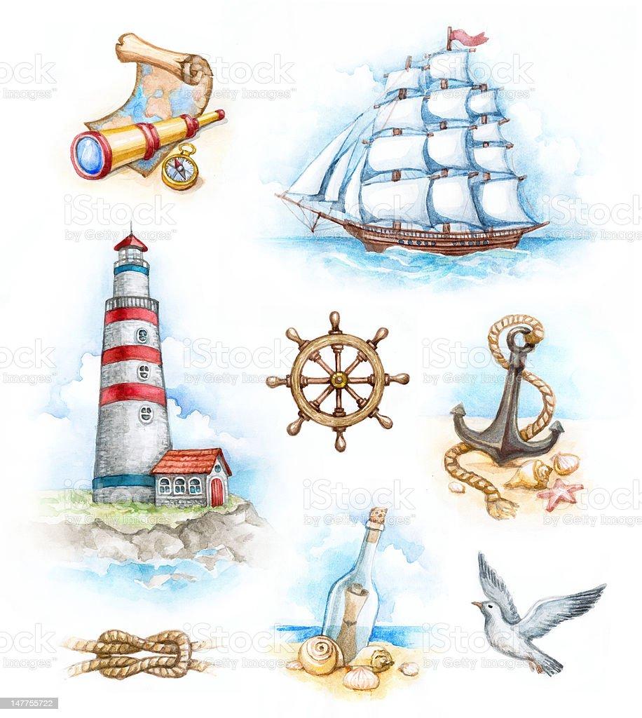 Set of nautical watercolor illustrations royalty-free stock vector art