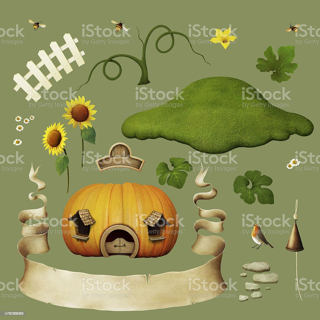 Set of objects for house pumpkins. royalty-free stock vector art