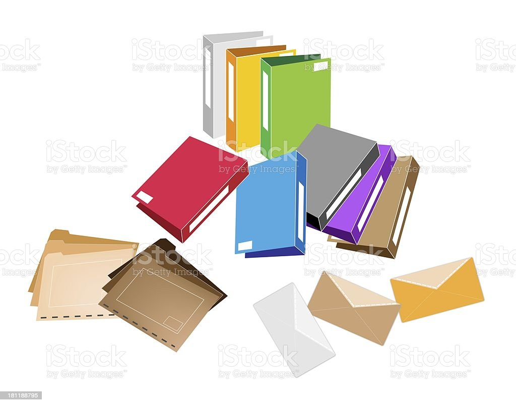 Set of Office Folder and Close Envelope vector art illustration