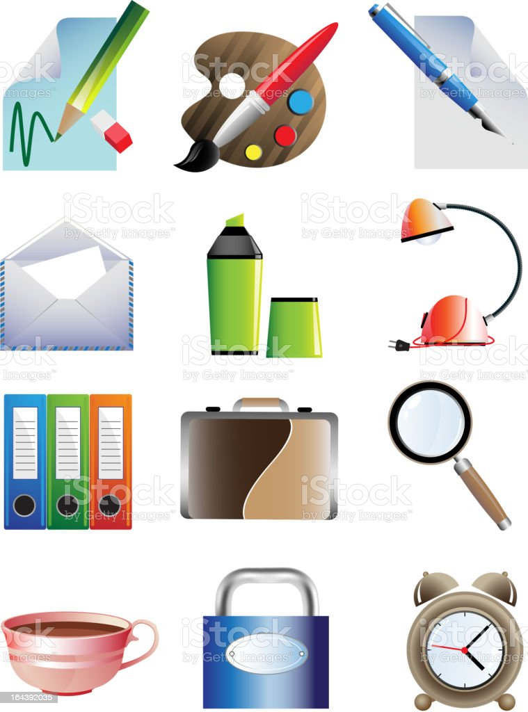Set of office icons royalty-free stock vector art