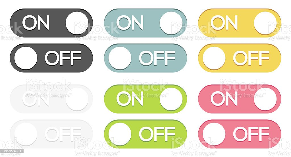 Set of on - off buttons vector art illustration