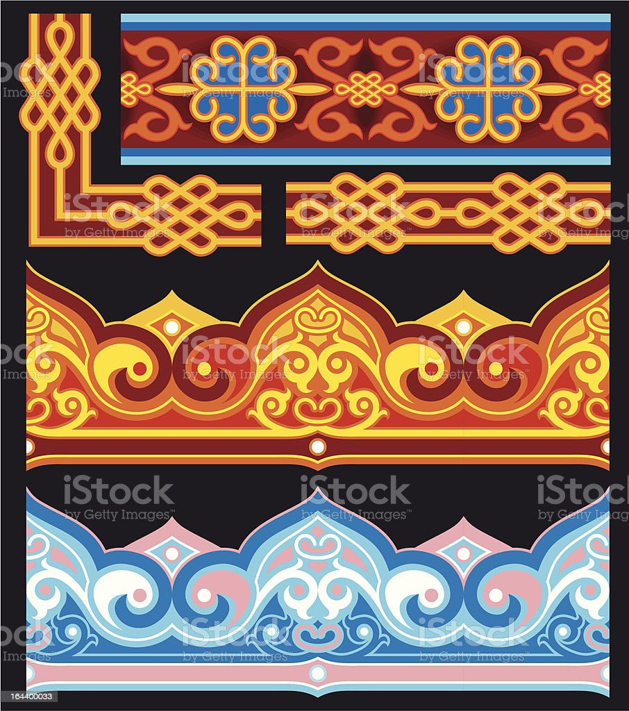 Set of Oriental Ornaments and Border royalty-free stock vector art