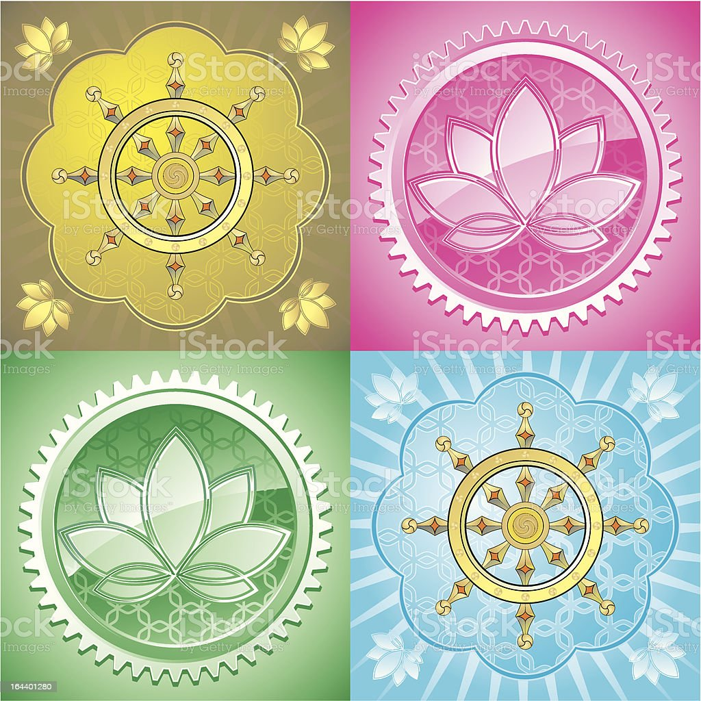 set of oriental pattern with dharma wheel and lotus, vector royalty-free stock vector art