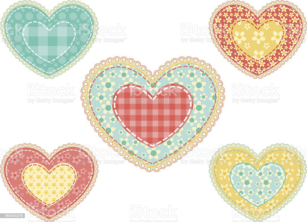 Set of  patchwork hearts. royalty-free stock vector art