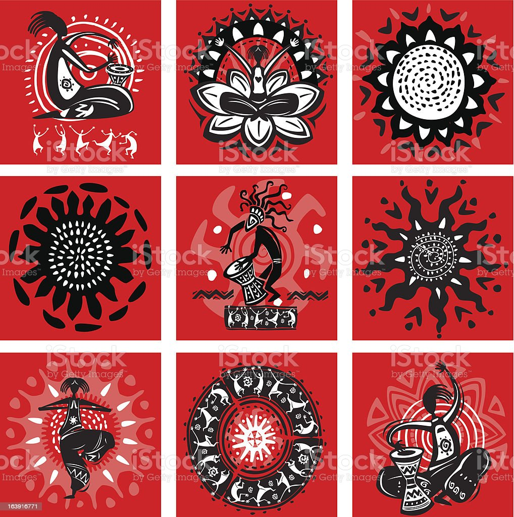 Set of pictures with ethnic motifs vector art illustration