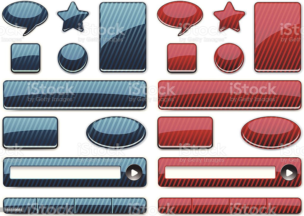 Set of  plastic  web buttons royalty-free stock vector art