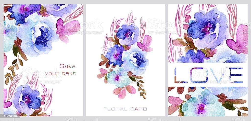 Set of postcards. Simple blue watercolor flowers. vector art illustration