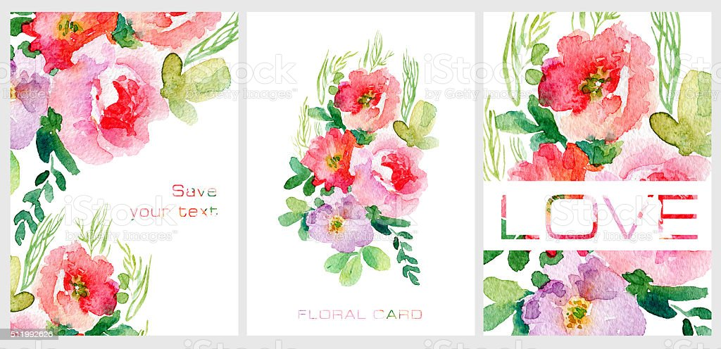 Set of postcards. Simple red watercolor flowers. vector art illustration