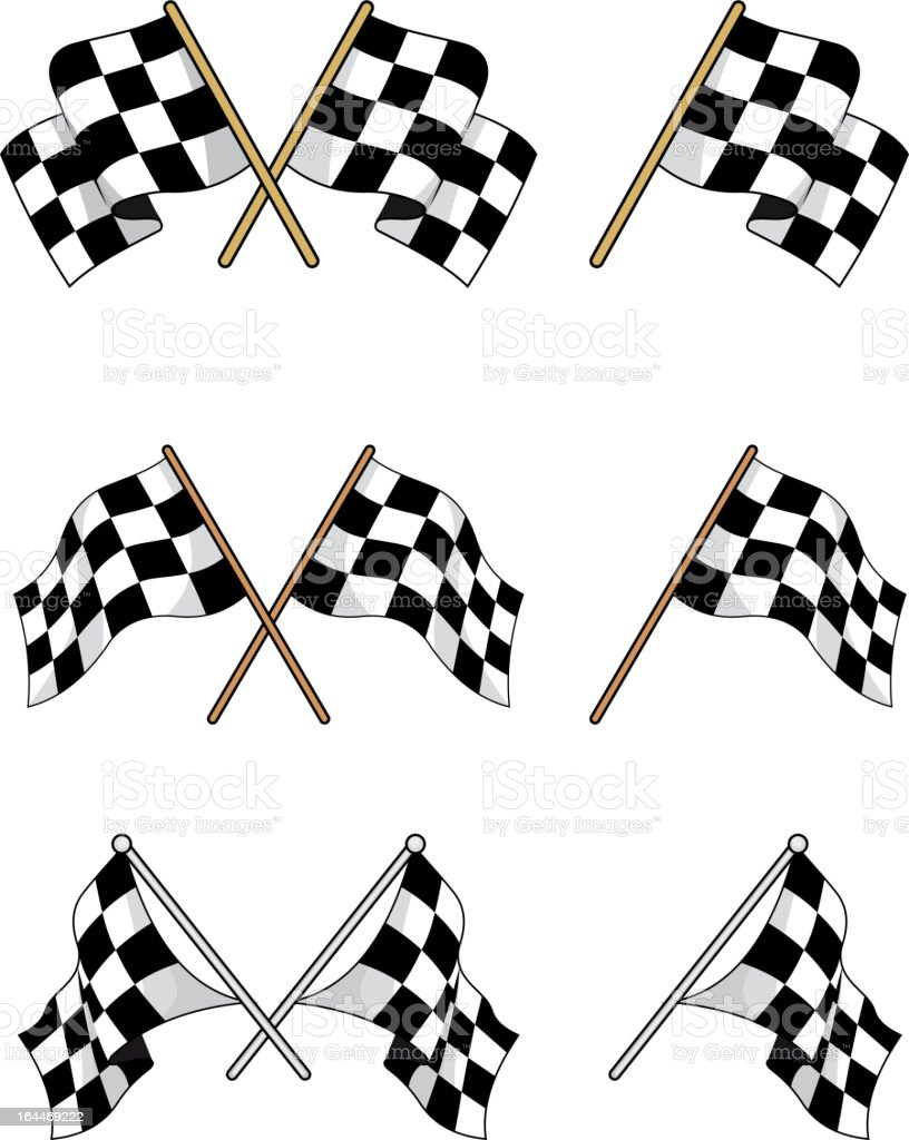 Set of racing checkered flags royalty-free stock vector art