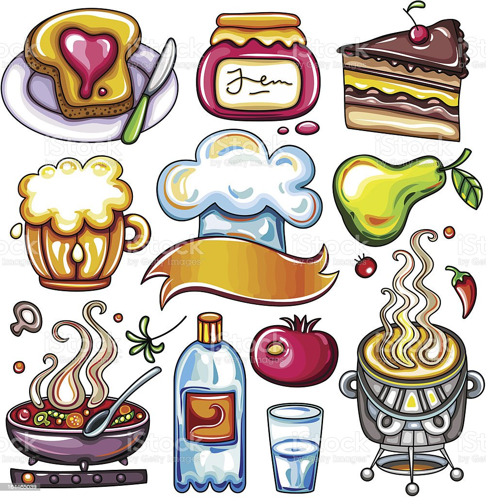 Set of ready-to-eat food icons part 4 vector art illustration