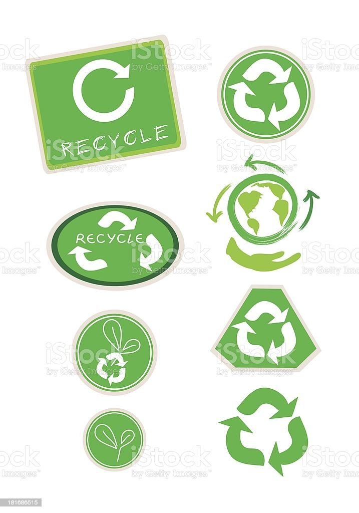 Set of Recycle Symbol for Save The World royalty-free stock vector art