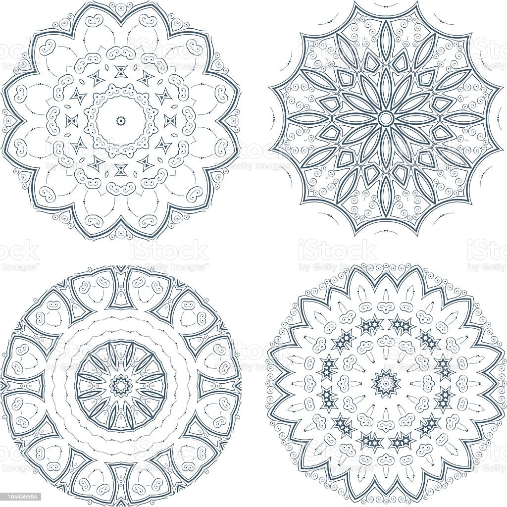 Set of round ornaments royalty-free stock vector art