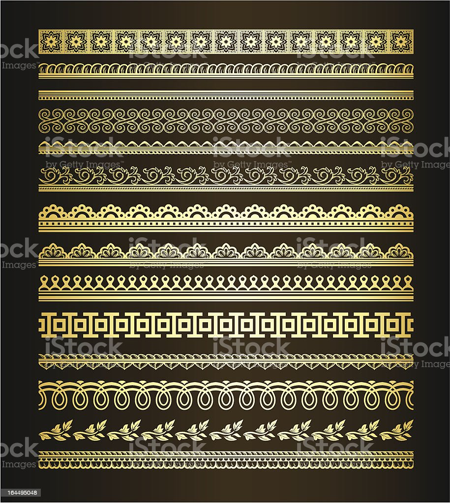 Set of seamless golden lines royalty-free stock vector art