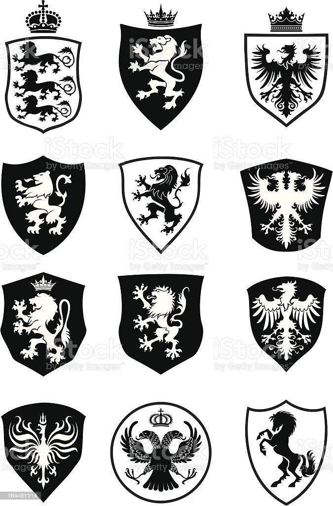 Set of shield heraldry vector art illustration