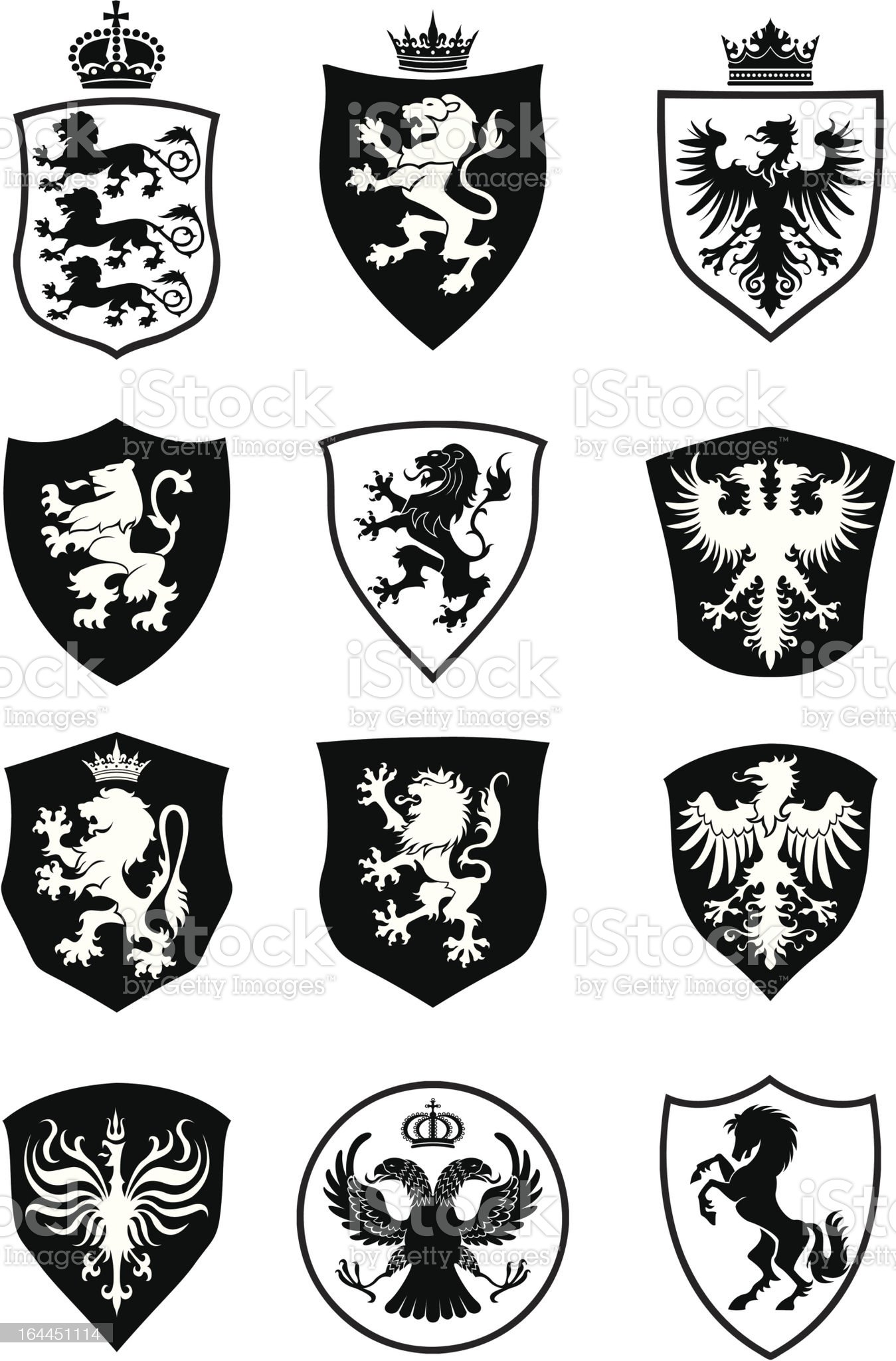 Set of shield heraldry royalty-free stock vector art