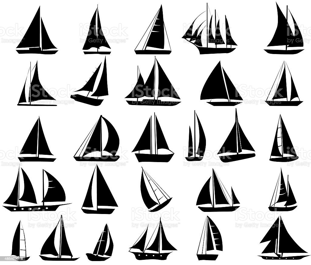 Set of  silhouettes of yachts vector art illustration