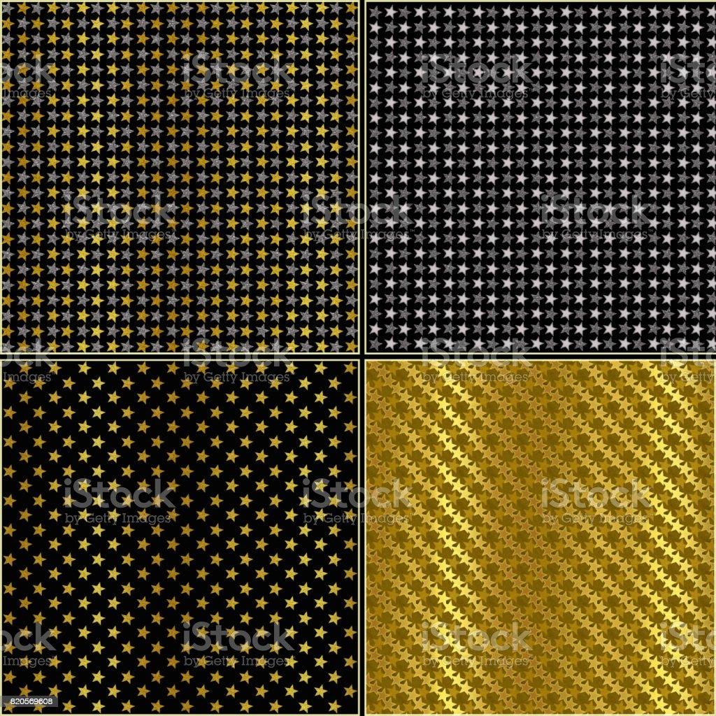 Set of silver and gold glittering stars vector art illustration