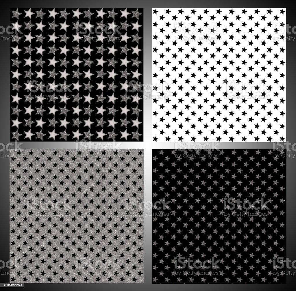 Set of silver, gold and black color stars vector art illustration