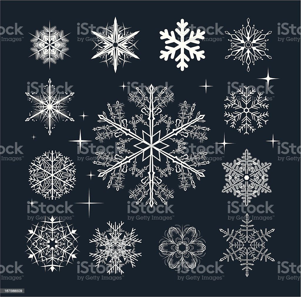 Set of Snowflakes royalty-free stock vector art