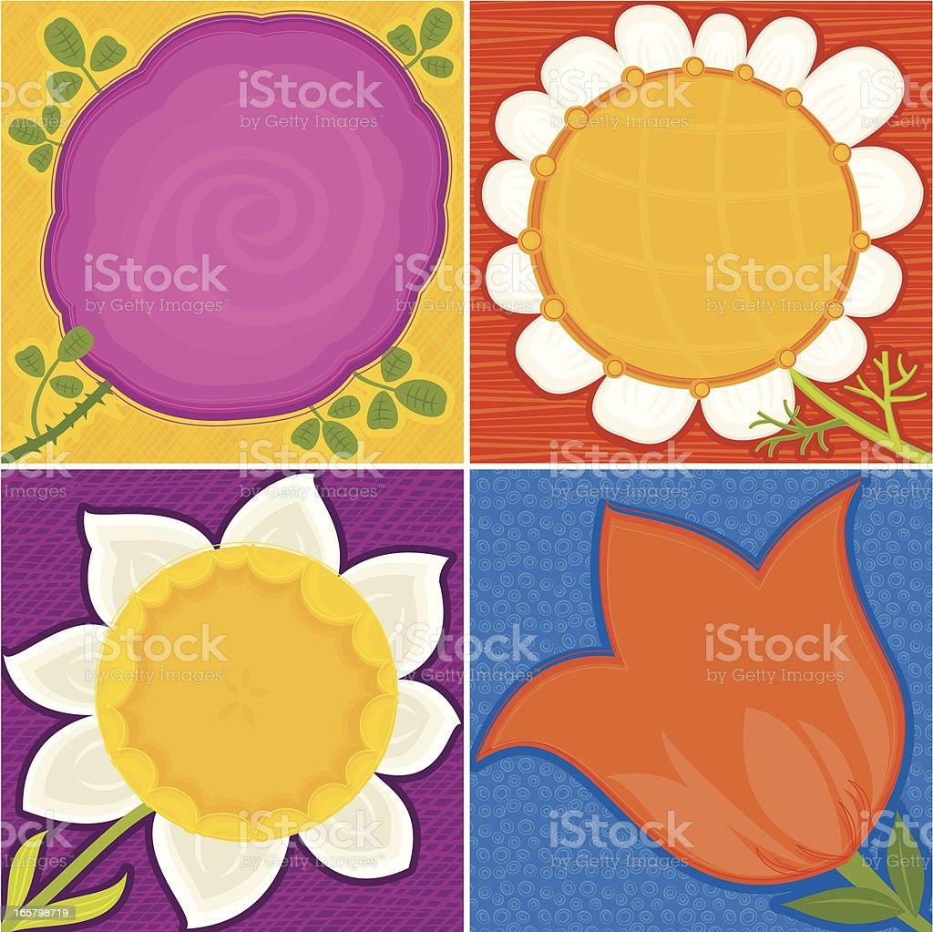 Set of Spring Floral Backgrounds vector art illustration