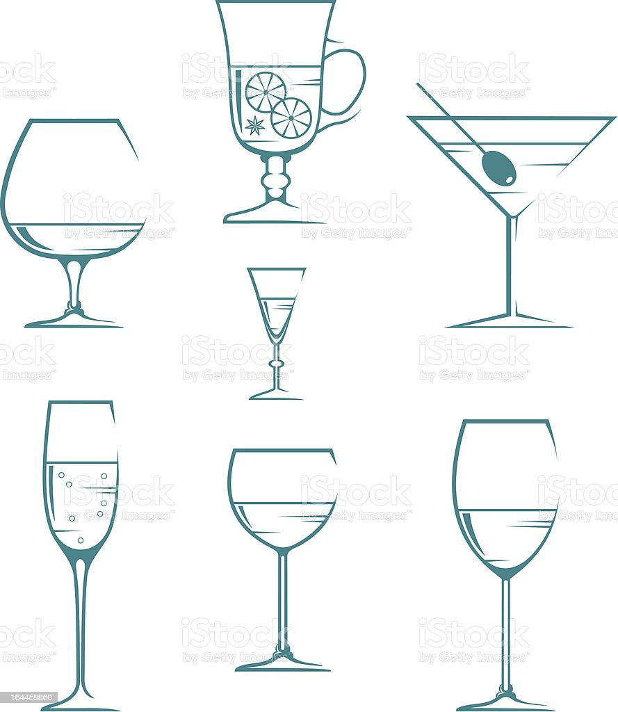 Set of symbols and icons glasses for alcoholic drinks royalty-free stock vector art
