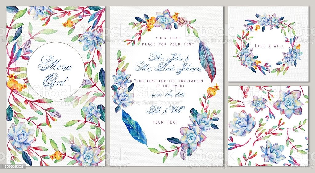 Set of templates for celebration, wedding or corporate style. vector art illustration
