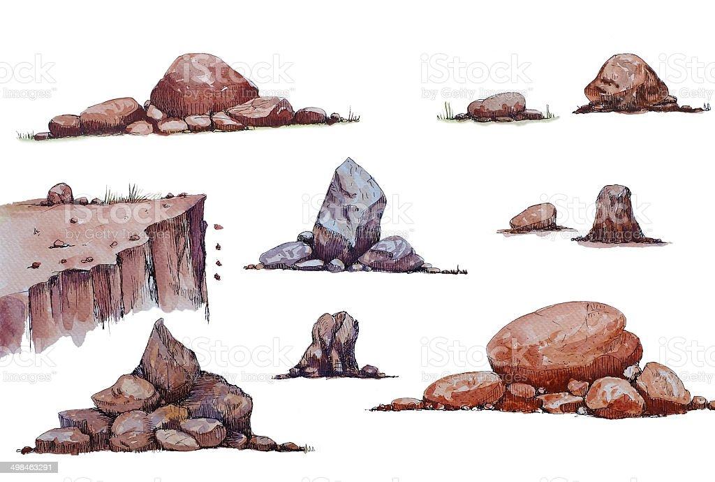 set of the stone vector art illustration