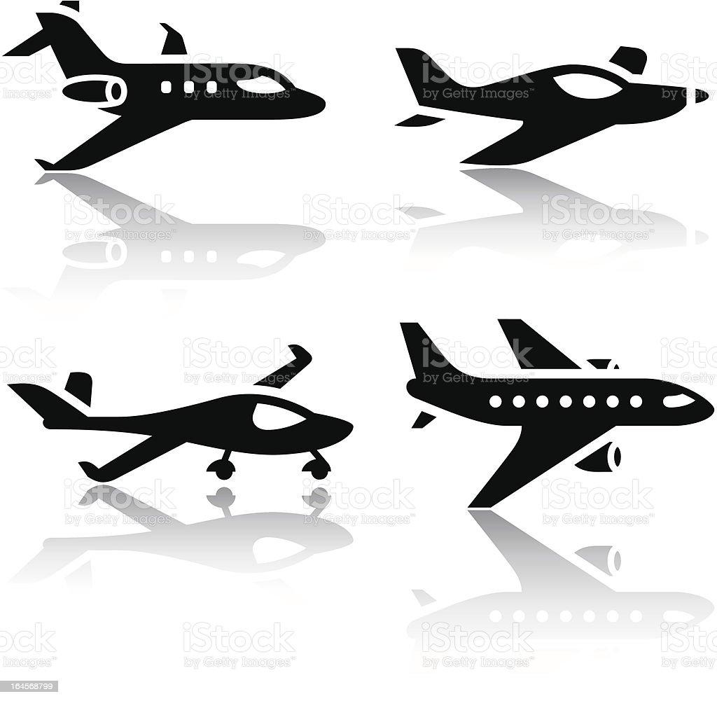 Set of transport icons - airplane vector art illustration