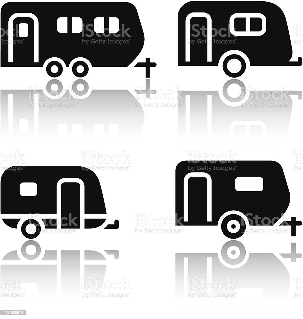 Set of transport icons - trailers vector art illustration