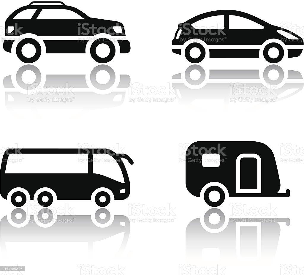 Set of transport icons - vehicles vector art illustration