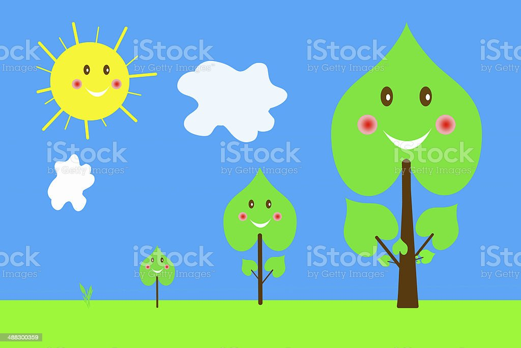 Set of trees  images from germ to big tree royalty-free stock vector art