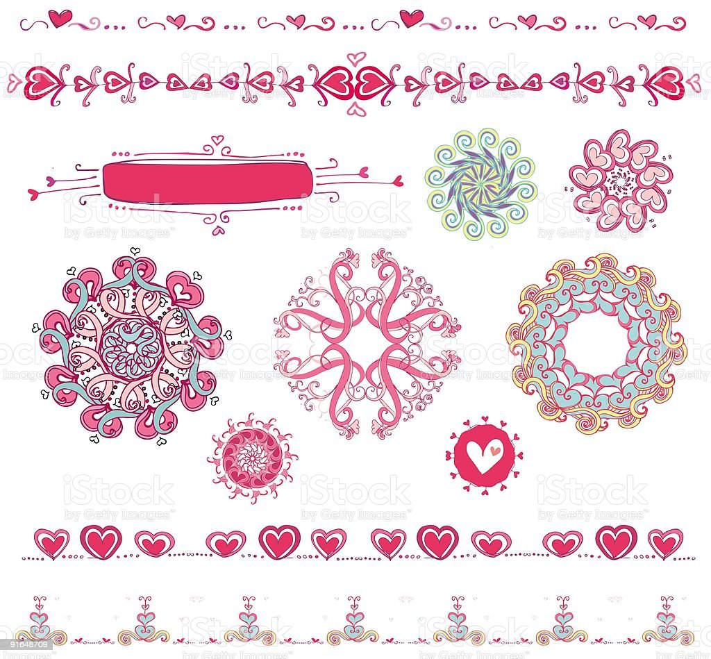 Set of Valentine's design elements royalty-free stock vector art