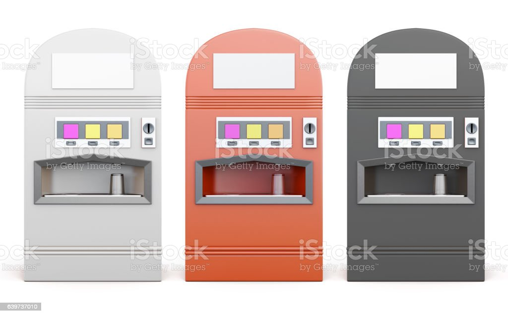 Set of vending machine for beverages isolated on white backgroun vector art illustration
