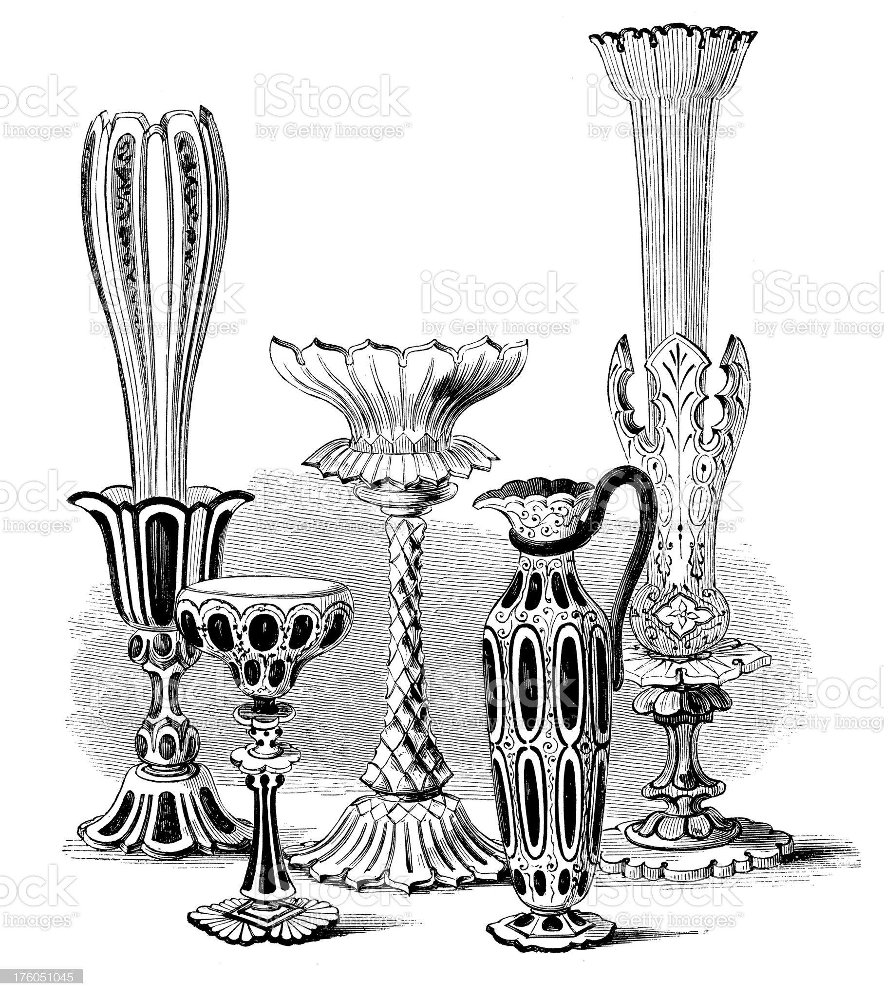 Set of Victorian Vases | Antique Design Illustrations royalty-free stock vector art