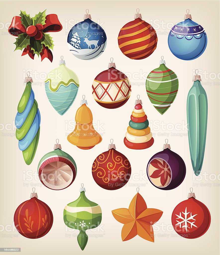 Set of vintage christmas balls. Colorful isolated icons. royalty-free stock vector art
