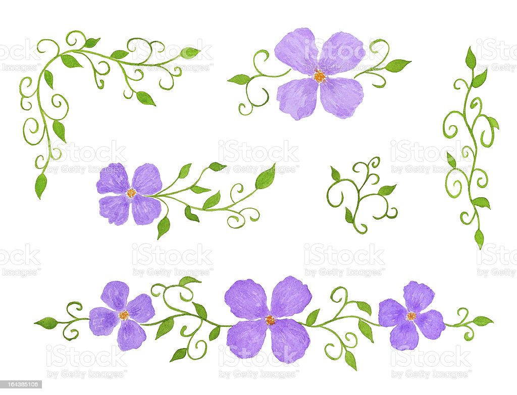 Set of Watercolor Floral Decor Elements royalty-free stock vector art