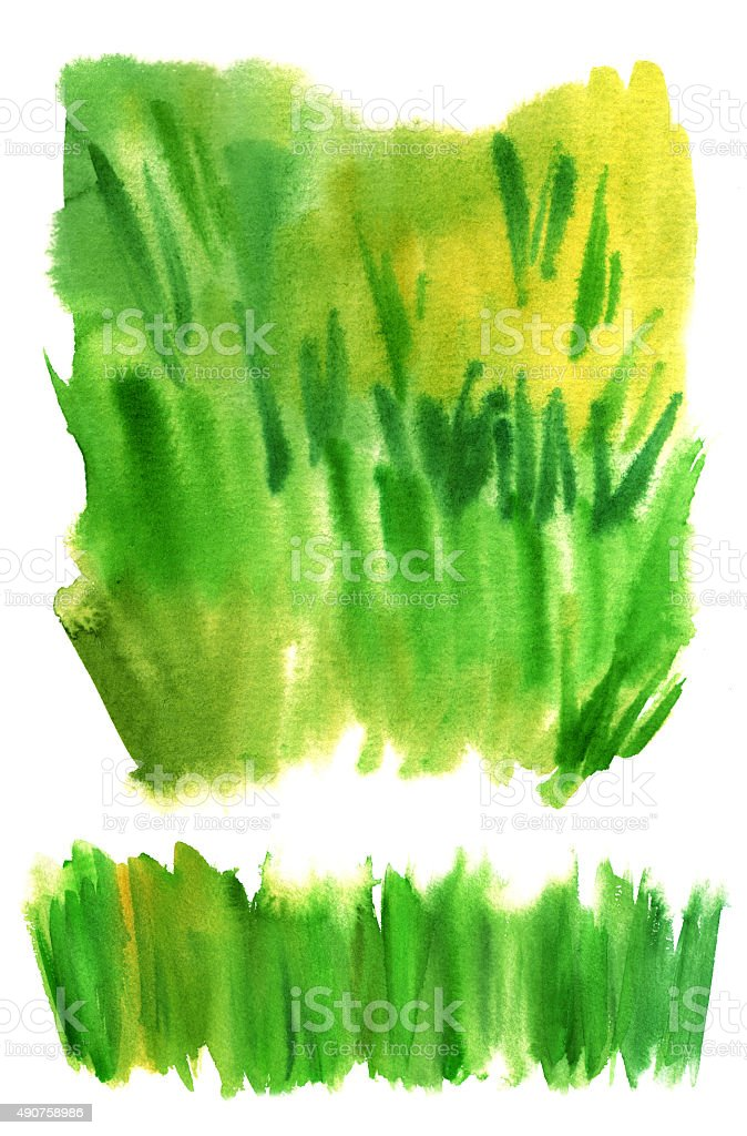 Set of watercolor grass textures on white background vector art illustration