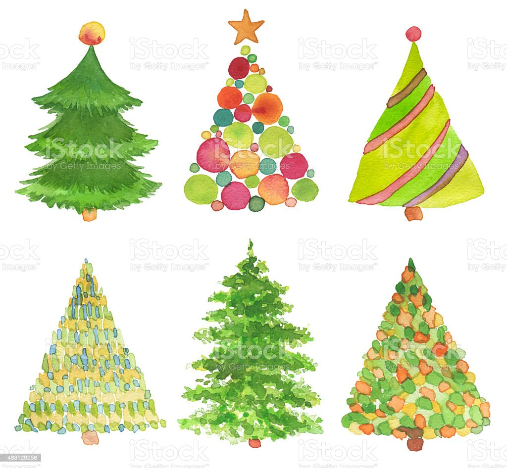 Set of watercolor hand painted Christmas tree. vector art illustration