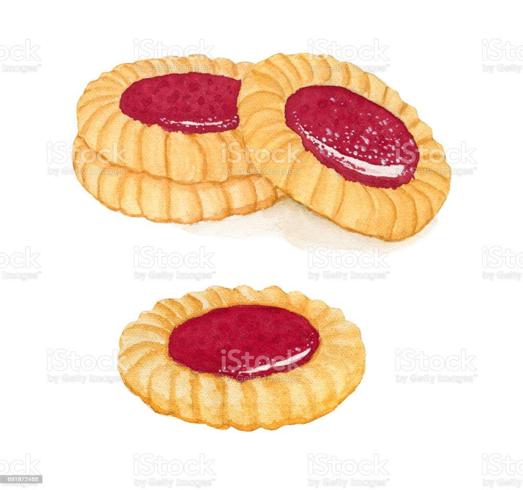 Set of watercolor shortbread cookies with fruit jam vector art illustration