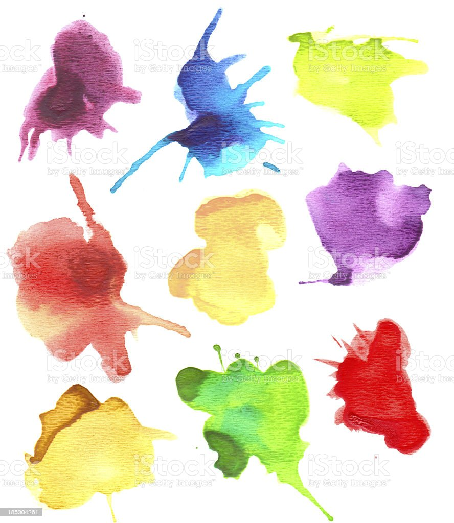 Set of Watercolor Splashes royalty-free stock vector art