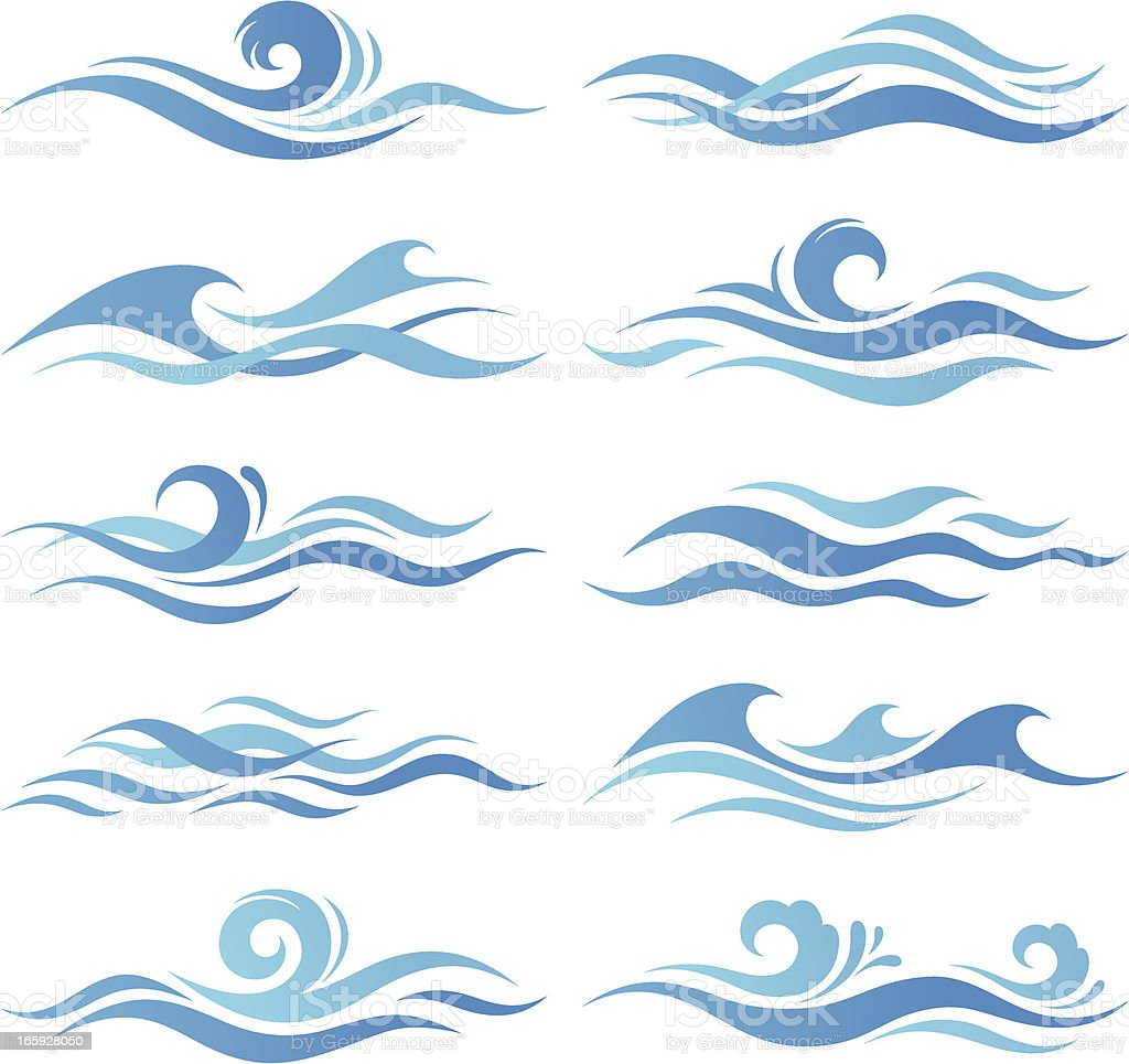 set of waves stock vector art 165928050 istock Wave Clip Art Background Ocean Wave Template Printable