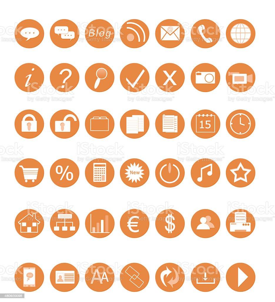 Set of web icons in orange color vector art illustration